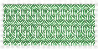 "Canvas Insert~Green & White Design handpainted ""BB"" Needlepoint Canvas by SOS from LEE"