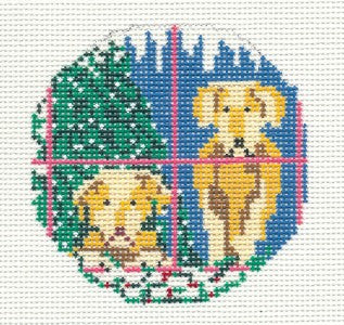 "Round~3""  2 Yellow Lab Dogs Ornament 13 mesh handpaint Needlepoint Canvas Needle Crossings"