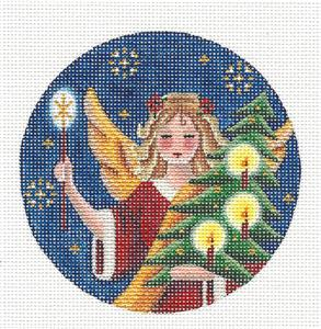 Round ~ Christmas Angel Ornament handpainted Needlepoint Canvas by Rebecca Wood