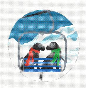 Dog Round - Ski Lift Love 2 Labrador Dogs Handpainted Needlepoint Canvas Liora Manne