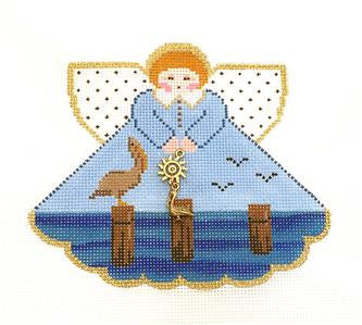 Angel~ Pelican Warf Angel & Charms handpainted Needlepoint Canvas by Painted Pony **MAY NEED TO BE SPECIAL ORDERED**
