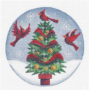 Round ~Cardinal Christmas Tree Ornament handpaint Needlepoint Canvas Rebecca Wood