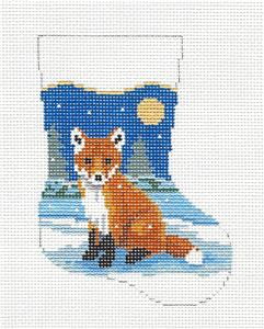 Christmas~Baby Fox Mini Sock Ornament handpainted Needlepoint Canvas Susan Roberts