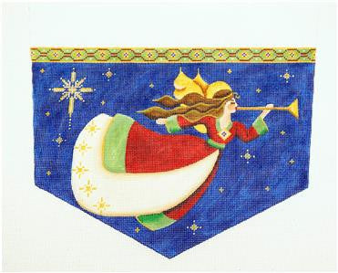 Stocking Cuff ~ Trumpeting Angel CUFF for Stocking HP Needlepoint Canvas by Rebecca Wood *** MAY NEED TO BE SPECIAL ORDERED***