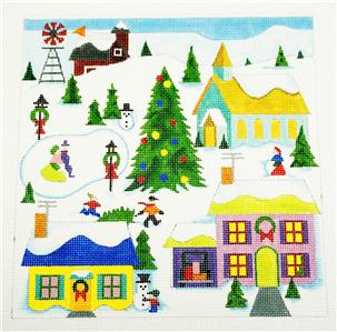 Canvas~ Christmas Village handpainted Needlepoint Canvas by Raymond Crawford