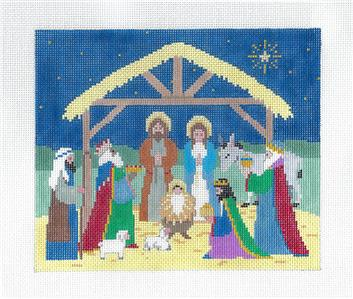 Canvas~ Christmas NATIVITY handpainted 18 Mesh Needlepoint Canvas by Susan Roberts