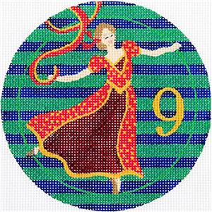12 Days of Christmas 9 Ladies Dancing with STITCH GUIDE & HP Needlepoint canvas Juliemar