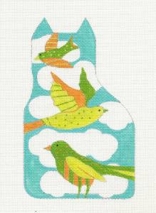 Melissa Shirley Birds on a Aqua Cat Sculpture handpainted Needlepoint Canvas
