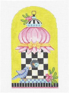 Kelly Clark -Spring Tuffet Birdhouse handpainted Needlepoint Canvas by Kelly Clark