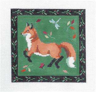 Canvas~Folk Art Red Fox with Border handpainted Needlepoint Canvas by Susan Roberts