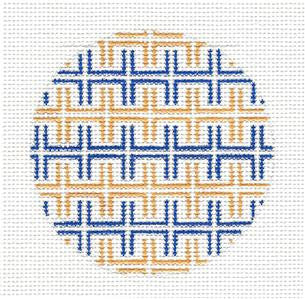 Round~Navy & Yellow Keys Rd. handpainted Needlepoint Canvas by SOS from LEE