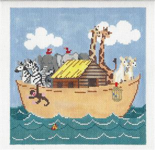 Canvas-Noah's Ark & Animals handpainted Needlepoint Canvas by Sandra Gilmore