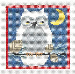 "Canvas~ SNOWY OWL with Moon handpainted Needlepoint Canvas 4.15"" Square Kathy Schenkel"