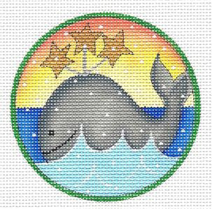 "Round ~ Artic Christmas Whale 4.5"" RD. HP 13m Needlepoint Canvas Renaissance Design"