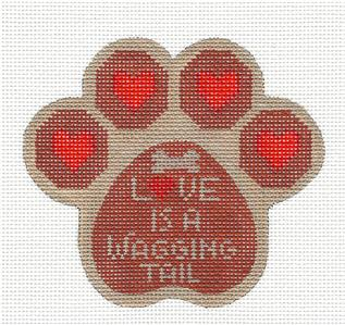 Dog Paw- Dog Paw Print Love is a Wagging Tail HP Needlepoint Canvas CH Designs -Danji