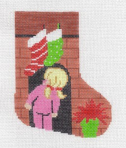 "Stocking~LEE ""Where's Santa"" Girl Mini Stocking handpainted Needlepoint Canvas"