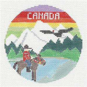 Travel Round~Canada Canadian Rockies handpainted Needlepoint Canvas by Kathy Schenkel**MAY NEED TO BE SPECIAL ORDERED**