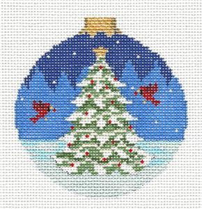 Christmas~Cardinals Decorating a Tree handpainted Needlepoint Ornament ~by Susan Roberts