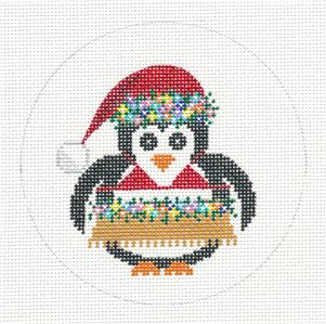 Round~4.5 Hawaii Penguin in Hula Skirt handpaint Needlepoint Canvas JP Needlepoint