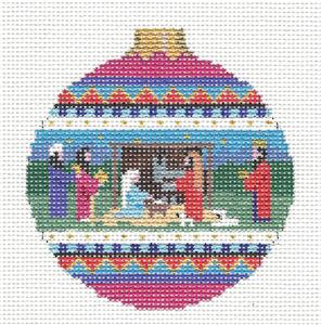 Nativity Christmas ~ Holy Family Nativity handpainted Needlepoint Ornament by Susan Roberts