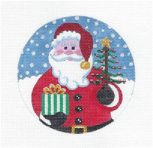 "Round~Santa with Gift & Tree handpainted Needlepoint Canvas 4.5"" Ornament by Juliemar"