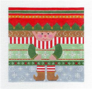 Canvas-Large ELF Roll Up Ornament handpainted Needlepoint Canvas by CH Designs ~ Danji