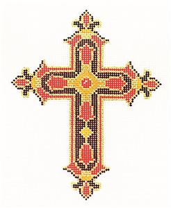 "Cross~ Elegant 7"" tall Red & Gold CROSS handpainted Needlepoint Canvas by LEE 13 Mesh"