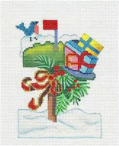"Canvas~ ""Christmas Mail Box"" handpainted Needlepoint Canvas Ornament by Brenda Stofft"