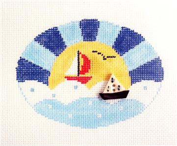 Oval~Sail Away with Sailboat Needlepoint Canvas Oval Ornament Kathy Schenkel