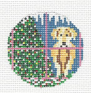 "Round~3"" Yellow Lab Dog in Window handpainted 13 mesh Needlepoint Canvas Needle Crossings"