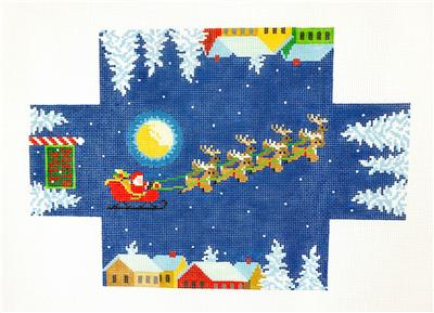 Brick Cover~Santa Over the Rooftops Brick Cover Door Stop HP Needlepoint Canvas S. Roberts