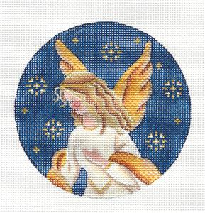 Round ~Golden Angel Ornament handpainted Needlepoint Canvas by Rebecca Wood *** MAY NEED TO BE SPECIAL ORDERED***