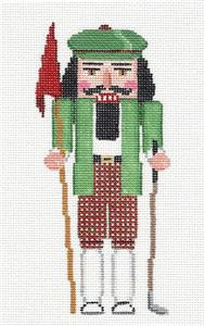 Nutcracker~ Golfer with Club handpainted Needlepoint Ornament by Susan Roberts