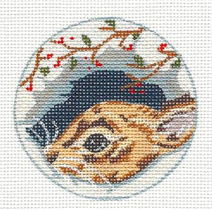 "Round ~ Woodland Bunny handpainted Needlepoint Ornament by Kamala from Juliemar 3""Rd"