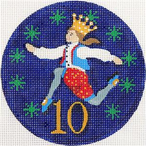 12 Days of Christmas 10 Lords Leaping & STITCH GUIDE on HP Needlepoint Canvas by JulieMar