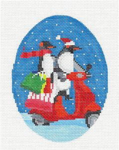 Oval- Christmas Penguins on a Scooter handpainted Oval Needlepoint Canvas Scott Church