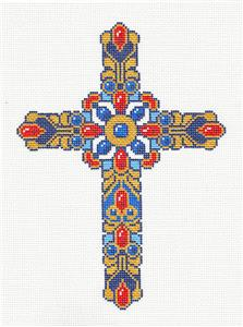 "Cross~ Elegant 7"" tall Blue Jeweled CROSS handpainted Needlepoint Canvas by LEE"