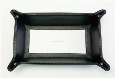 Accessory~LG. Black Leather Rect. Snap Tray for a Rectangular Needlepoint Canvas by LEE