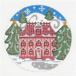 Round- Village Series PINK HOME in Snow handpainted Needlepoint Canvas Orna. by Danji