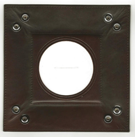 "Accessory~LEE Dk. Brown Square Leather Snap Tray for Needlepoint Canvas 3"" Round Canvas"