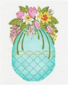 Kelly Clark - LG. Tulip Bouquet Easter Egg handpainted Needlepoint Canvas by Kelly Clark