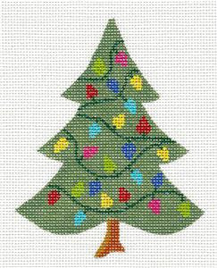 Kelly Clark Tree- Christmas Tree Lights handpainted Needlepoint Canvas