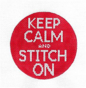 KEEP CALM and STITCH ON handpainted Needlepoint Canvas by Edie & Ginger from CBK
