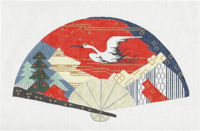 Fan~Oriental Crane in Flight FAN handpainted Needlepoint Canvas by Sophia Design