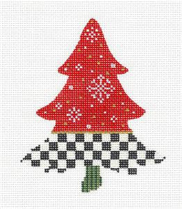 Kelly Clark Tree- Snowflakes & Checks handpaint Needlepoint Ornament Canvas Kelly Clark