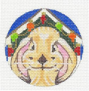 "Round~Bunny Decorating His Hutch HP Needlepoint Ornament by Kamala from Juliemar 3""Rd."