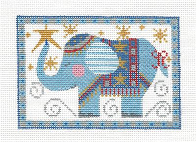 Canvas- Elephant Rectangle in Blue HP Needlepoint Canvas CH Designs from Danji