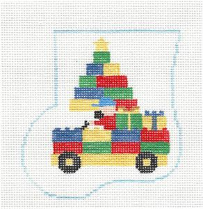 Mini Stocking ~ LEGO BLOCKS TRUCK Mini Stocking handpainted Needlepoint Canvas by Kathy Schenkel