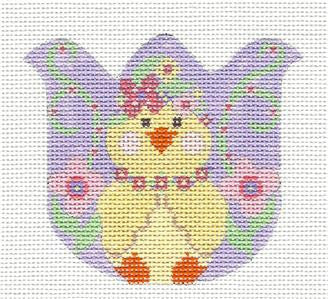 Tulip-Tulip with a Chick in Flowers on Handpainted Needlepoint Canvas by Danji Designs