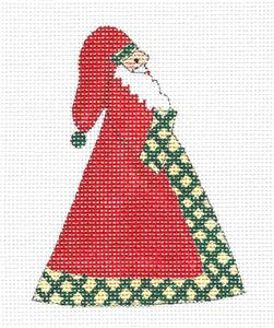 Christmas~Dotted Swiss Santa Red, Green & Tan handpainted Needlepoint Canvas Bees Knees